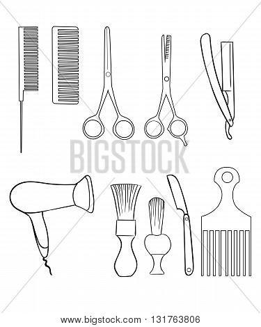Barber Set of Vector Barber Shop Elements and Shave Shop Icons Illustration hairdresser