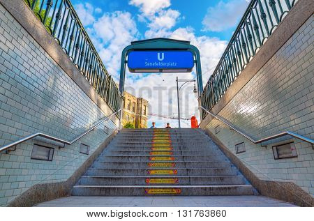 Entrance Of A Metro Station In Berlin, Germany