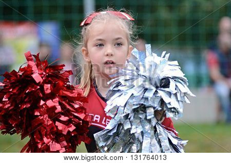 JIHLAVA 29/05/2016 _ Little cheerleader girl. 5.round of Czech Football League Division IV between the teams and Vysocina Gladiators and Zlín Golems.