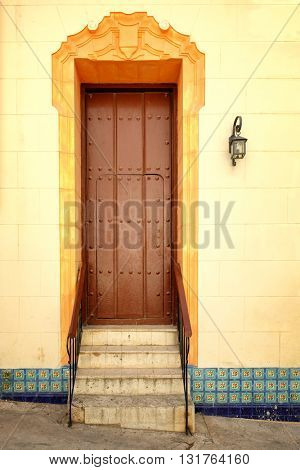 Colorful door at colonial Old Havana in Cuba