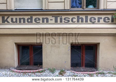 Berlin Germany - May 17 2016: historic cabinetmakers shop in Berlin. Berlin the capital of Germany has about 3.5 million inhabitants and is a global city of culture politics media and sciences