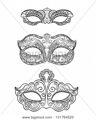 Set of isolated carnival masks, black and white Beautiful black lace masquerade mask isolated on white background. Ornate Monochrome Mardi Gras Carnival Mask