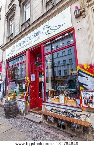 Berlin Germany - May 17 2016: unique wine shop in Berlin-Kreuzberg. Kreuzberg has emerged from one of the poorest quarters to one of Berlins cultural centers