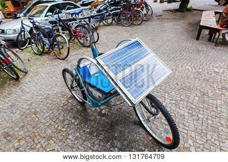 Berlin Germany - May 17 2016: unique handmade solar bicycle in Berlin. Solar engery is an important source of renewable energy