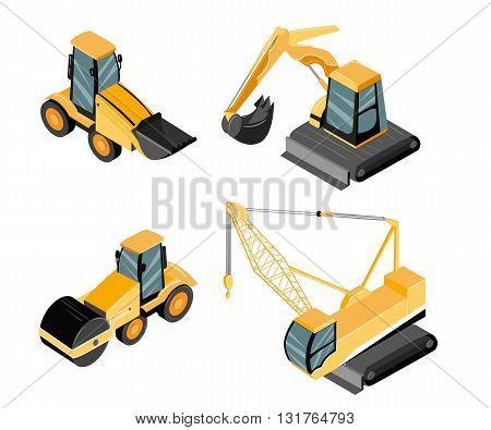Isometric construction. Construction site engines. Excavator crane grader concrete cement mixer roller pit dump truck loader tow wrecker truck.