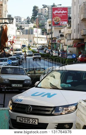 BETHLEHEM, ISRAEL, 2 APRIL 2013. Editorial photo of United Nations Peace Keeping Vehicle Parked on Manger Street, Bethlehem - a sign of the continuing conflict between Israelis and Palestinians