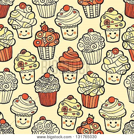Seamless pattern with cute smiling cupcakes on warm background. Vector illustration.