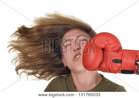 Woman getting a hard punch in the face