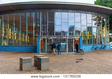 Berlin Germany - May 17 2016: Traenenpalast with unidentified people. It was the terminal building for exit of the former GDR today exhibition for telling the fates and daily life of the divisions