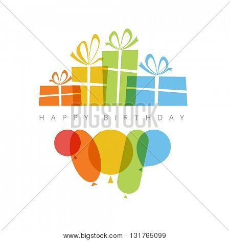 Happy birthday fresh vector illustration with presents and balloons