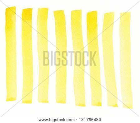 set of golden yellow watercolor brush stroke