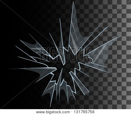 Broken glass set Broken glass background collection