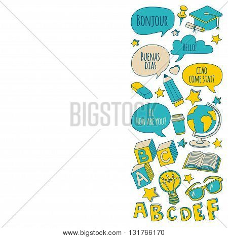 Doodle vector icons Foreing language learning Hand drawn images