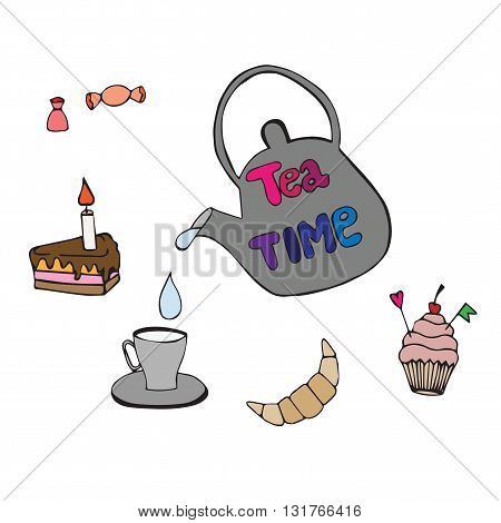 Set tea time with cake pie cup tea-pot and lettering. Set with inscription tea time for design cafe bars greeting cards or party invitations.