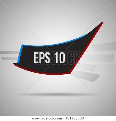 Abstract triangles and rectangle geometric vector banner in black, red and blue colors