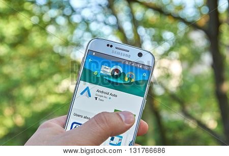 MONTREAL CANADA - MAY 23 2016 : Google Android Auto application on Samsung S7 screen. The Android Auto app links new cars that support Android Auto to Android 5.0 plus phones Lollipop or Marshmallow