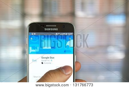 MONTREAL CANADA - MAY 23 2016 : Google Duo application on Samsung S7 screen. Google Duo is a video chatting app that lets you see callers before picking up