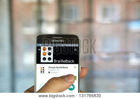 MONTREAL CANADA - MAY 23 2016 : Google BrailleBack application on Samsung S7 screen. BrailleBack is an Accessibility Service that helps blind users make use of braille devices