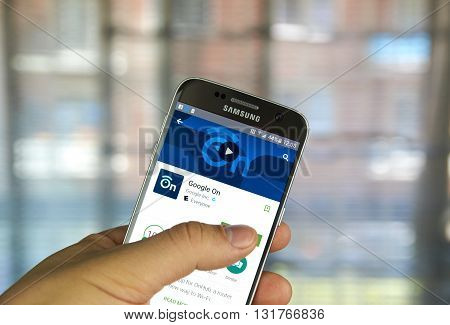 MONTREAL CANADA - MAY 23 2016 : Google On application on Samsung S7 screen. Google On is the companion app for OnHub a router for the new way to Wi-Fi.
