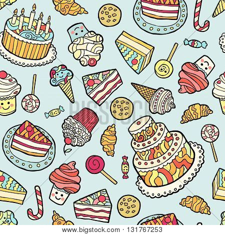 Seamless pattern with sweets on blue background. Vector illustration.