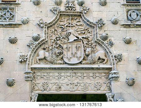 Facade of the Casa de las Conchas in Salamanca Castilla y Leon Spain. Dates from the end of the 15th century it is a famous landmark of Salamanca
