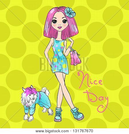Cute beautiful Pop Art girl in dress with dog. T-shirt Graphics. Girl print.