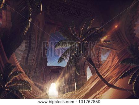 3D illustration, orient sunshine, palm, halo, sky