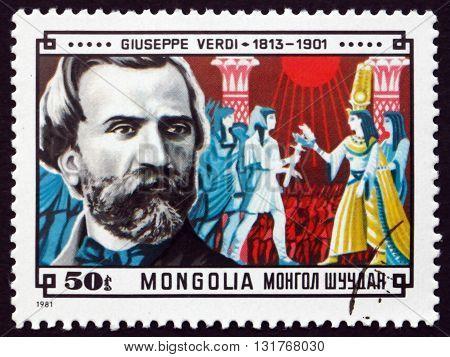 MONGOLIA - CIRCA 1981: a stamp printed in Mongolia shows Giuseppe Verdi Italian Composer of Operas and Scene from Aida circa 1981
