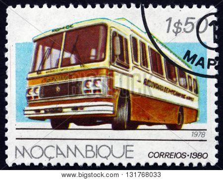 MOZAMBIQUE - CIRCA 1980: a stamp printed in Mozambique shows Scania Marcopolo 1978 Public Transportation circa 1980