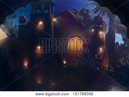 3D illustration, orient castel, night, palm, sky