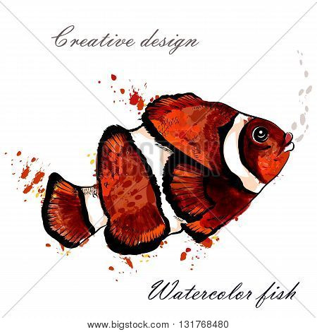 Beautiful hand drawn fish in watercolor style painted by ink spots