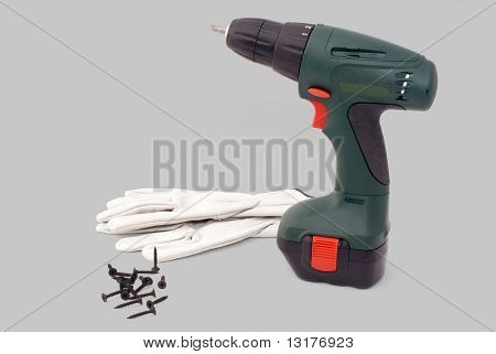 Electrical Screwdriwer Tool With Gloves And Screws
