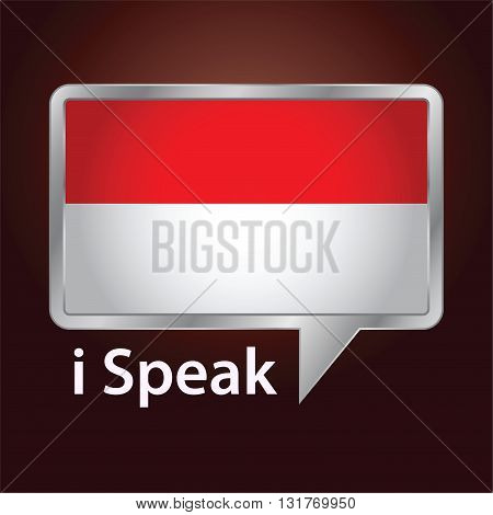 Vector stock of Indonesia flag inside speech bubble Speaking Indonesian language