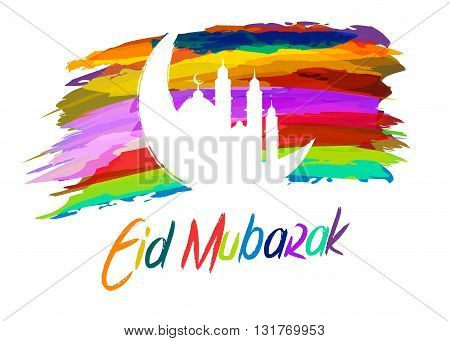 Vector stock of islamic eid mubarak greetings with abstract paint brush background