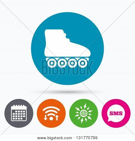 Wifi, Sms and calendar icons. Roller skates sign icon. Rollerblades symbol. Go to web globe.