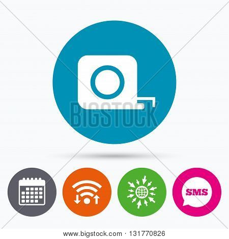Wifi, Sms and calendar icons. Roulette construction sign icon. Tape measure symbol. Go to web globe.