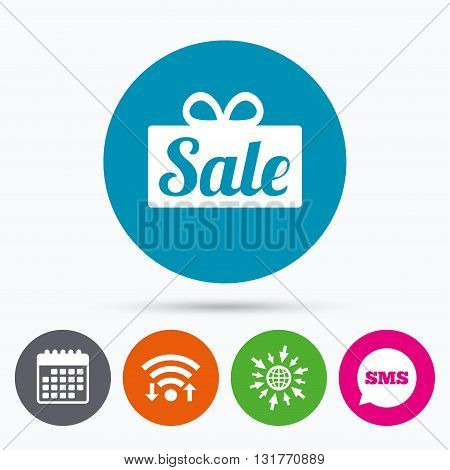 Wifi, Sms and calendar icons. Sale gift box sign icon. Special offer symbol. Go to web globe.