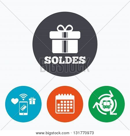 Soldes - Sale in French sign icon. Gift box with ribbons symbol. Mobile payments, calendar and wifi icons. Bus shuttle.