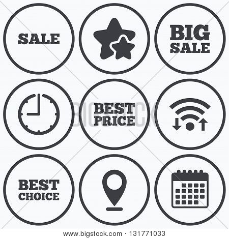 Clock, wifi and stars icons. Sale icons. Best choice and price symbols. Big sale shopping sign. Calendar symbol.