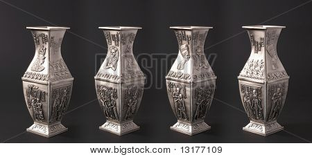 Four Egyptian Vases. Isometric View
