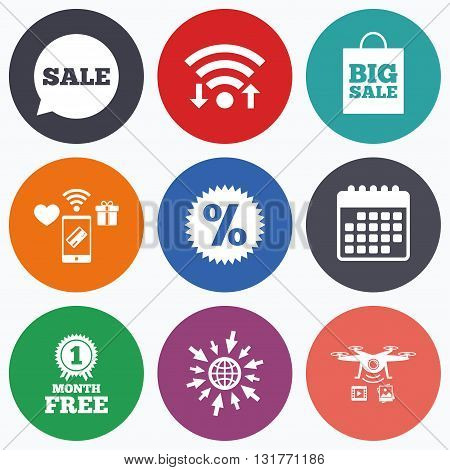 Wifi, mobile payments and drones icons. Sale speech bubble icon. Discount star symbol. Big sale shopping bag sign. First month free medal. Calendar symbol.