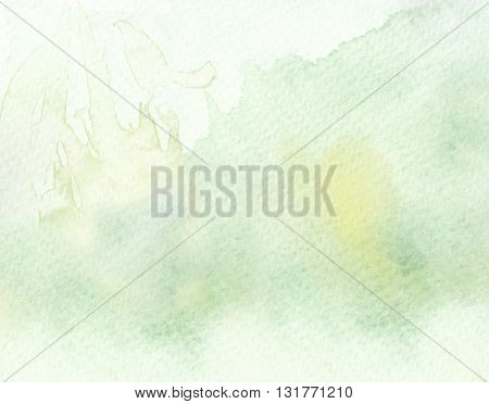faded light tones yellow green watercolor background