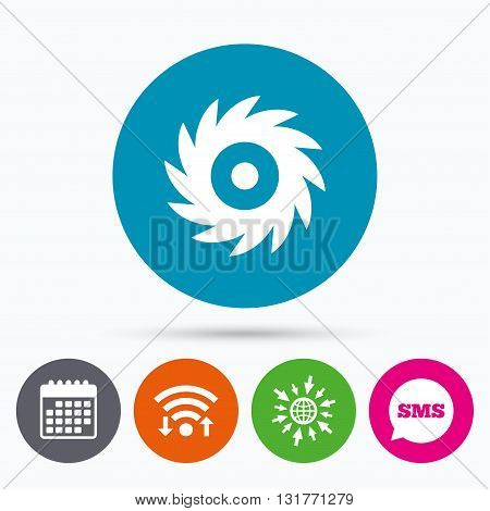 Wifi, Sms and calendar icons. Saw circular wheel sign icon. Cutting blade symbol. Go to web globe.