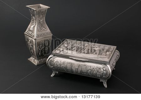 Egyptian Metal Vase And  Casket