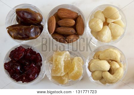 Healthy nuts and seeds in a glass.