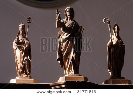 OBERSTAUFEN, GERMANY - OCTOBER 20: Jesus savior with saints, the parish church of St. Peter and Paul in Oberstaufen, Germany on October 20, 2014