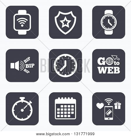 Mobile payments, wifi and calendar icons. Smart watch wi-fi icons. Mechanical clock time, Stopwatch timer symbols. Wrist digital watch sign. Go to web symbol.