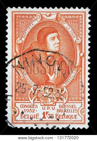 ZAGREB, CROATIA - JULY 03: A stamp printed in Belgium shows Jean Baptiste Leschenault de la Tour - French botanist and ornithologist, circa 1952, on July 03, 2014, Zagreb, Croatia