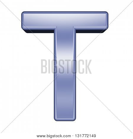 One letter from shiny blue alphabet set, isolated on white. 3D illustration.
