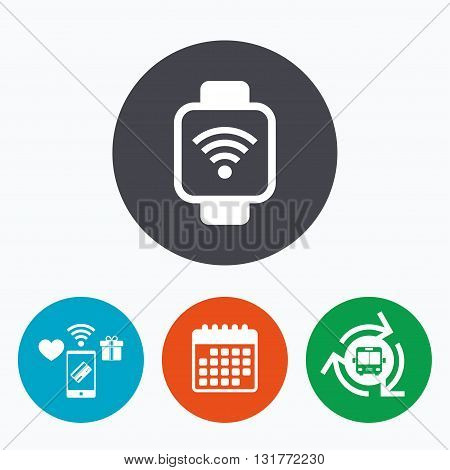 Smart watch sign icon. Wrist digital watch. Wi-fi internet symbol. Mobile payments, calendar and wifi icons. Bus shuttle.